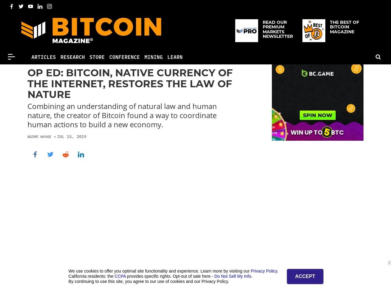 Op Ed: Bitcoin, Native Currency of the Internet, Restores the Law of Nature