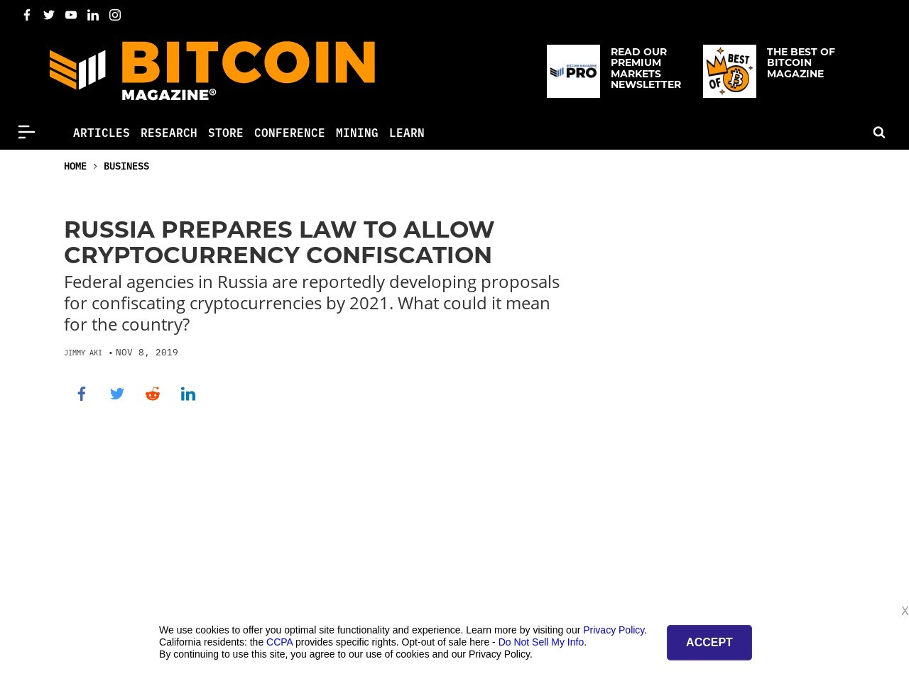 Russia Prepares Law to Allow Cryptocurrency Confiscation