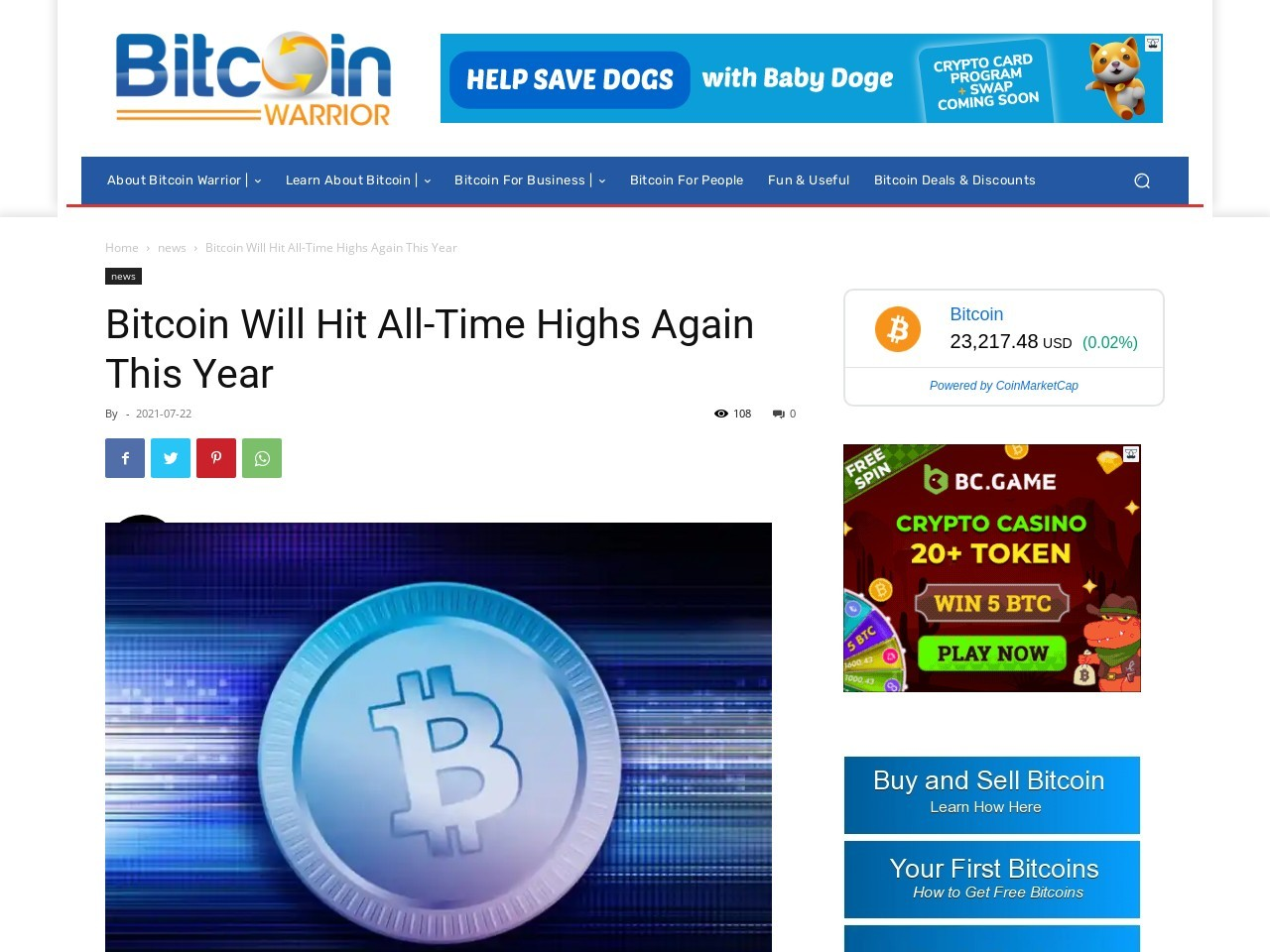 Bitcoin Will Hit All-Time Highs Again This Year