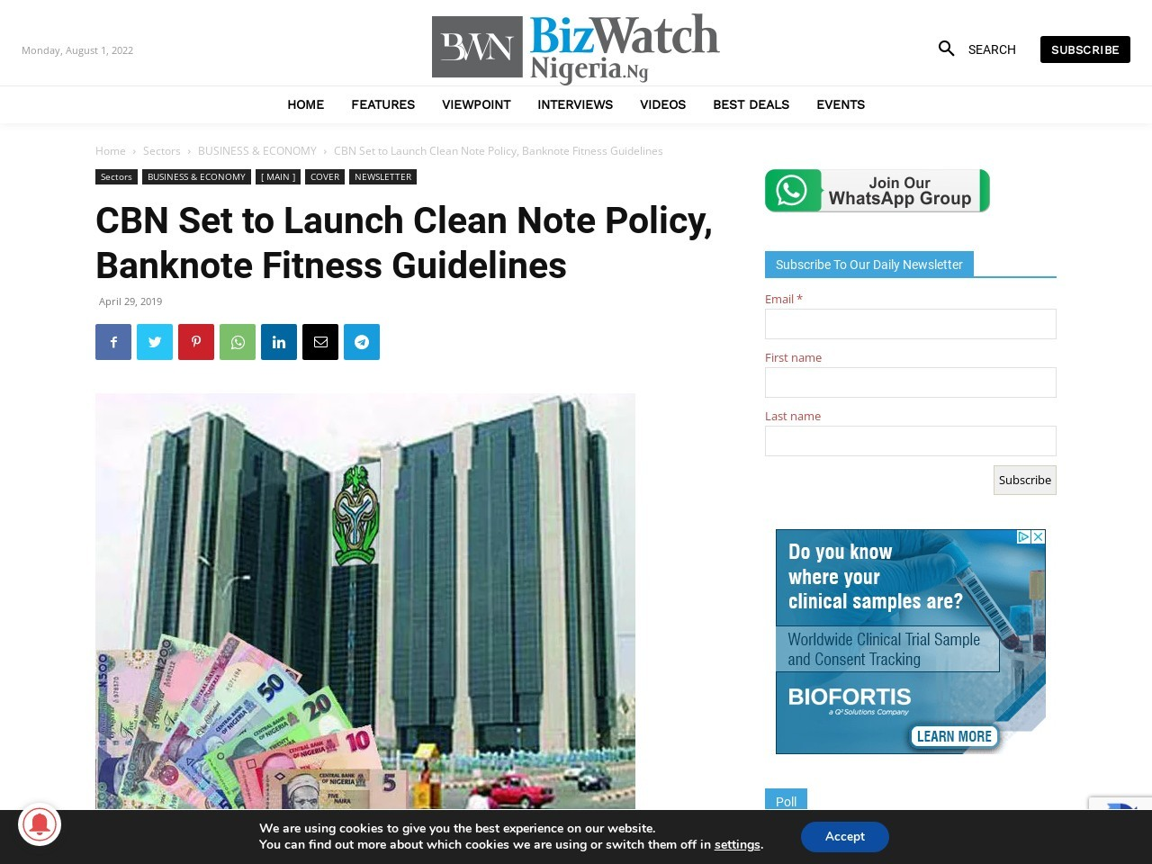 CBN Set to Launch Clean Note Policy, Banknote Fitness Guidelines