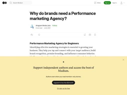 need a Performance marketing Agency