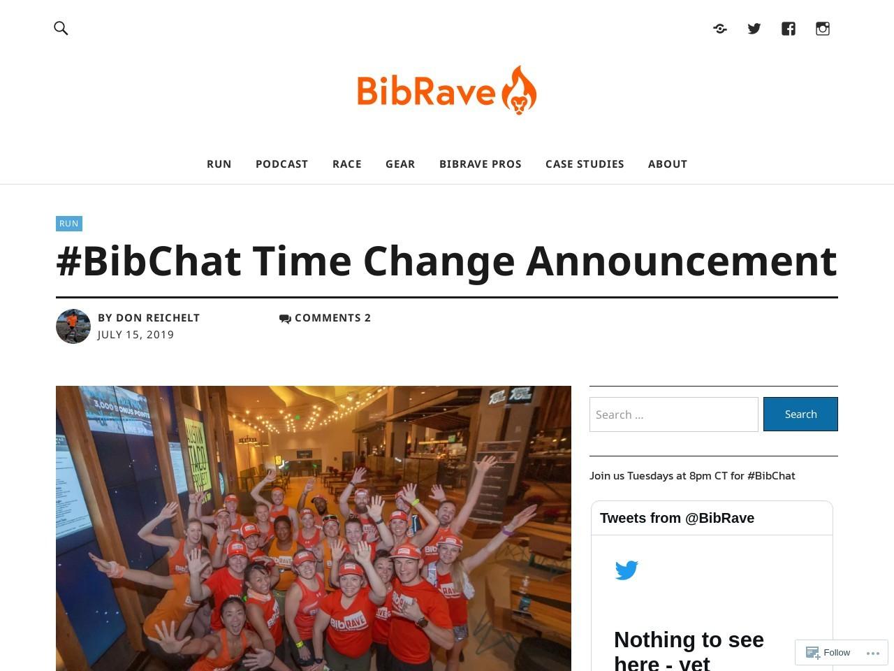 #BibChat Time Change Announcement – BibRave Blog