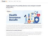 Health insurance: Pre-existing diseases rules changed, to benefit policyholders
