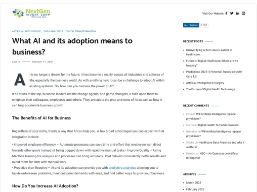 What AI and its adoption means to business?