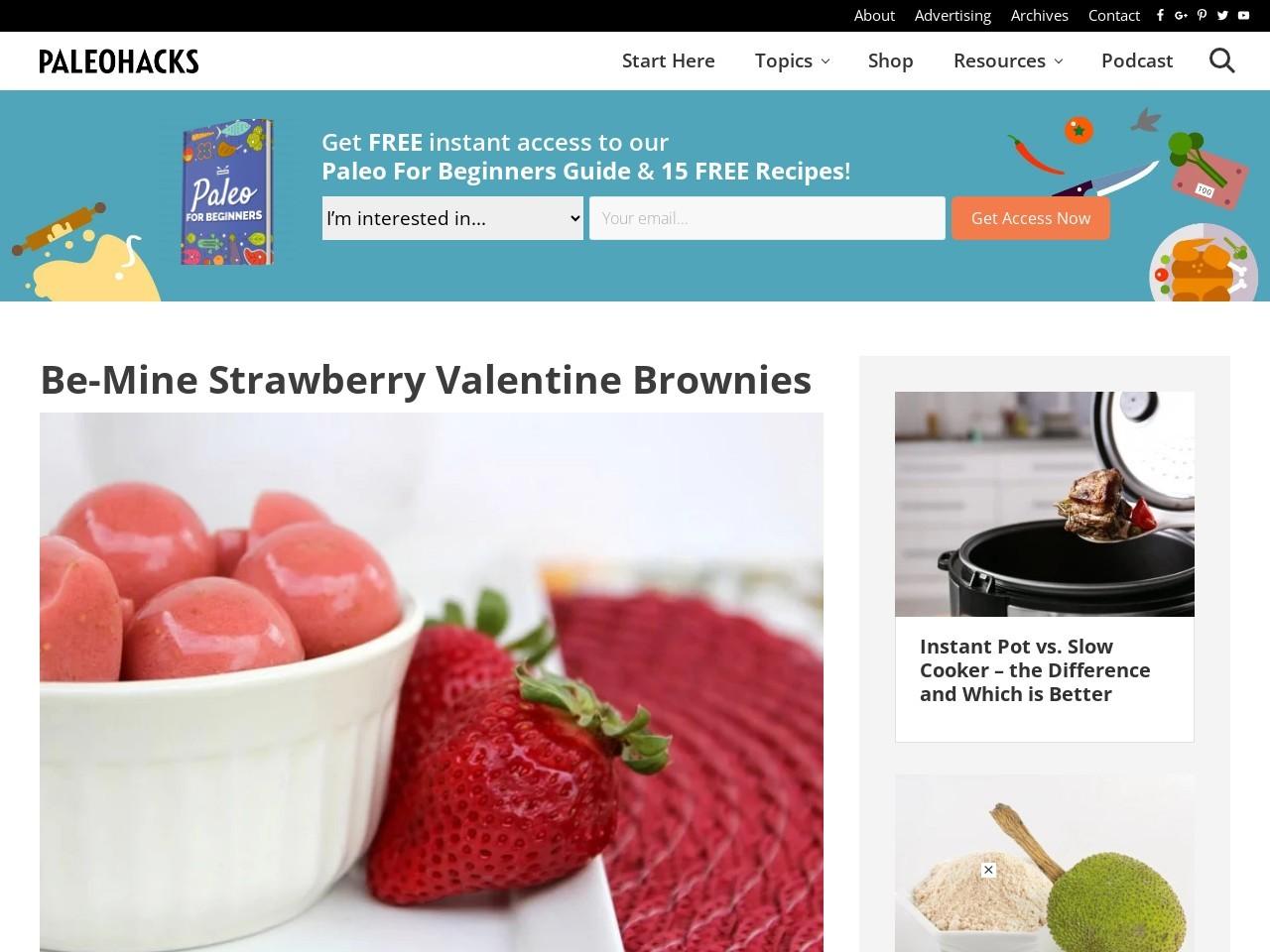 Be-Mine Strawberry Valentine Brownies