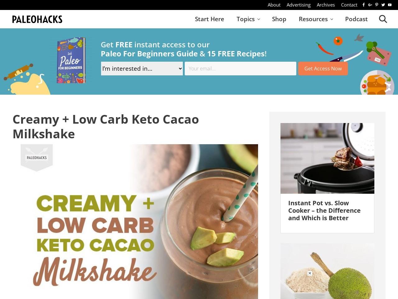 Creamy + Low Carb Keto Cacao Milkshake