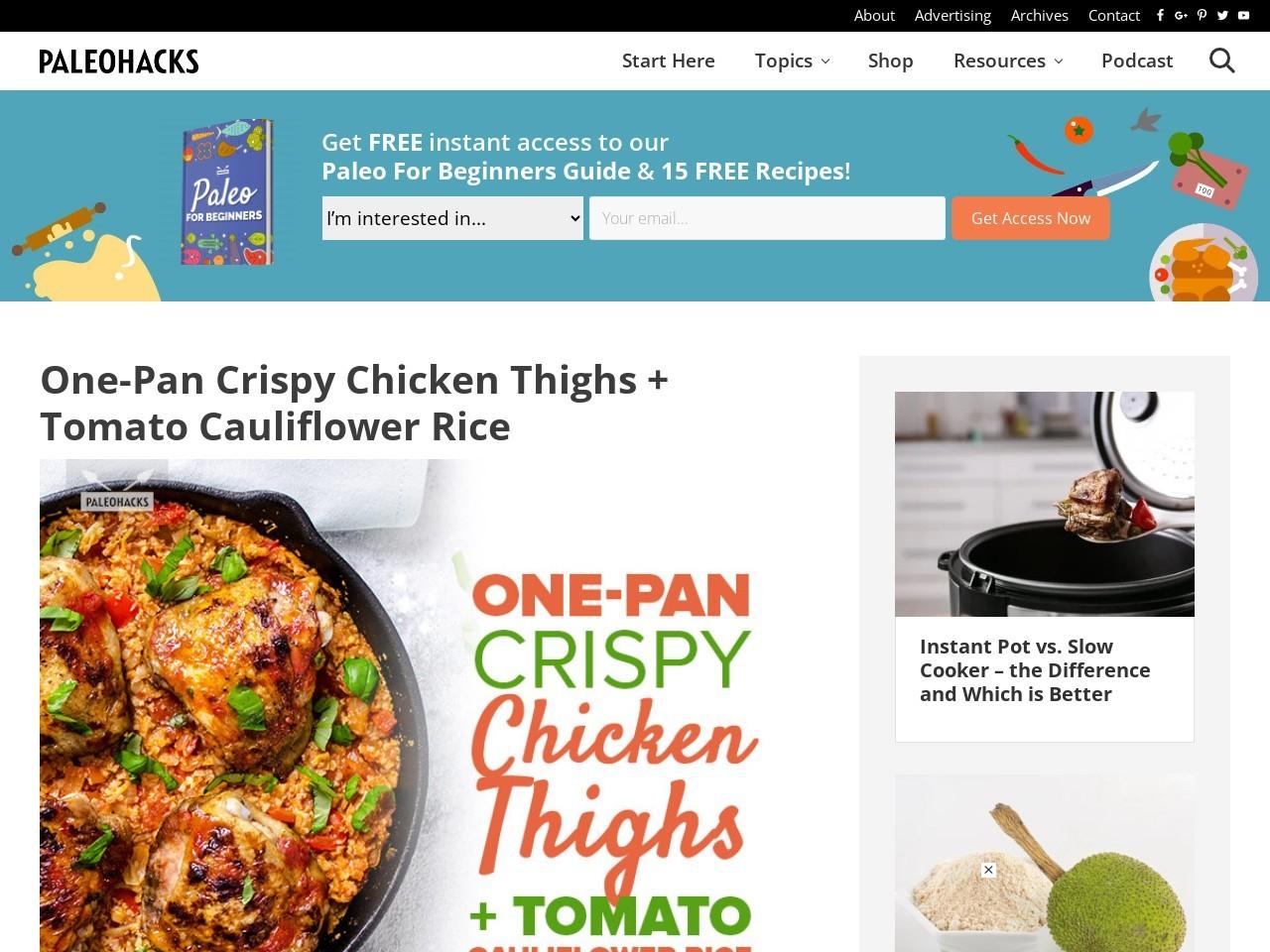 One-Pan Crispy Chicken Thighs + Tomato Cauliflower Rice