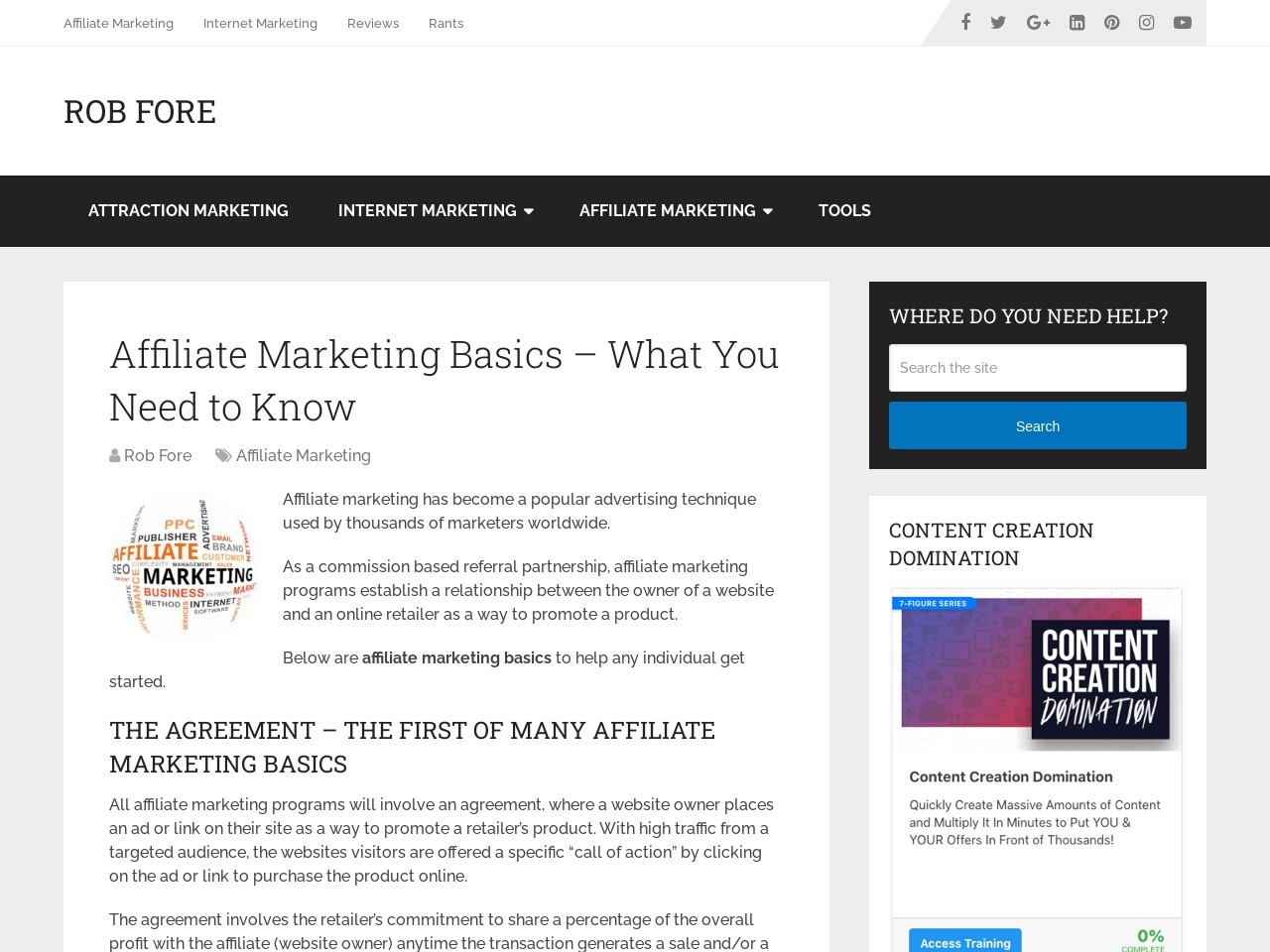 Affiliate Marketing Basics – What You Need to Know