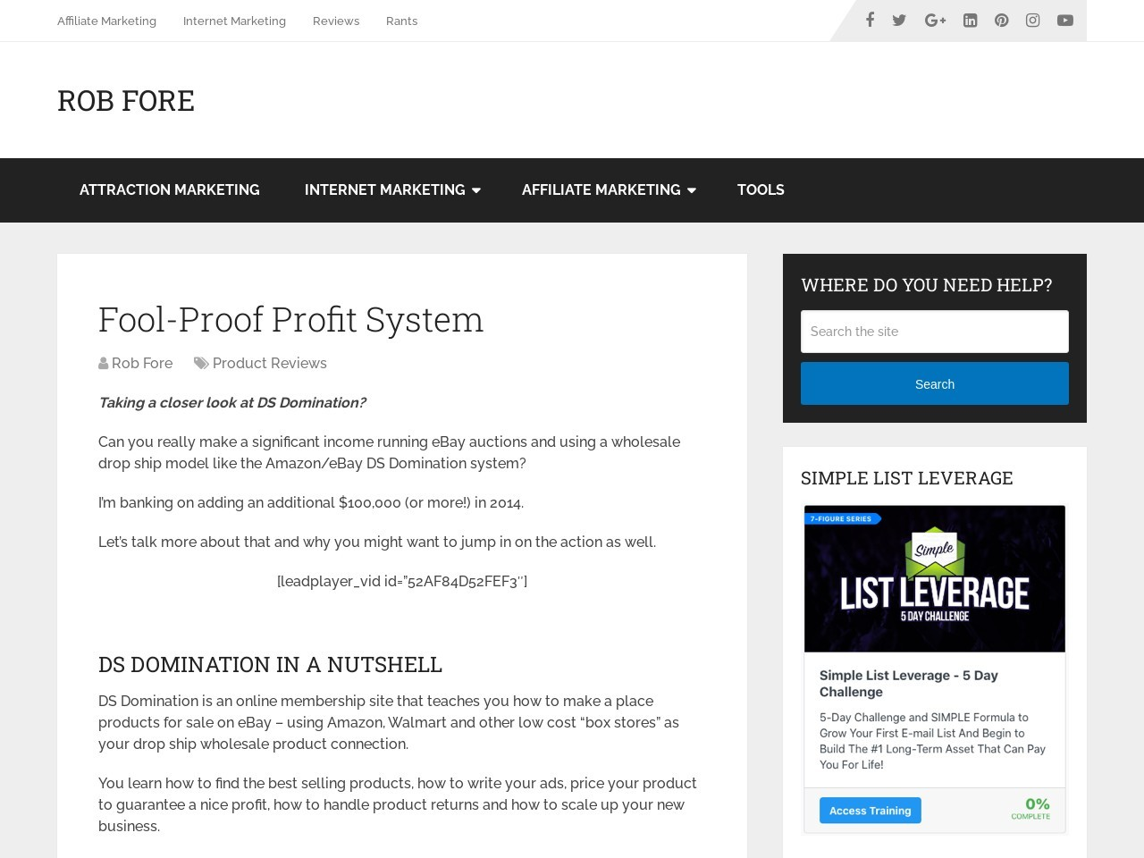 Fool-Proof Profit System