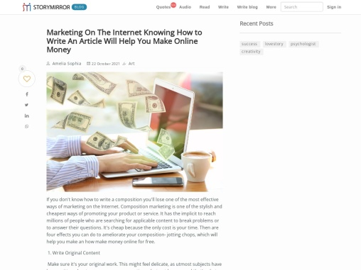 Marketing On The Internet Knowing How to Write An Article Will Help You how make money online for fr
