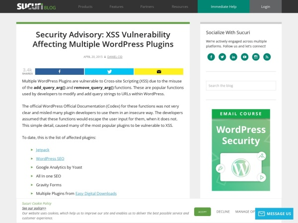 http://xxxxsblog.sucuri.net/2015/04/security-advisory-xss-vulnerability-affecting-multiple-wordpress-plugins.html