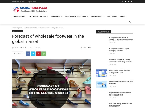 Forecast of wholesale footwear in the global market