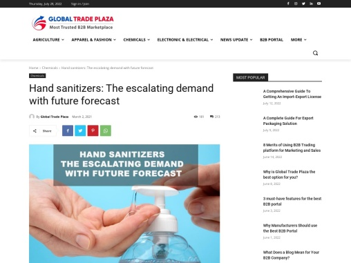Hand sanitizers: The escalating demand with future forecast