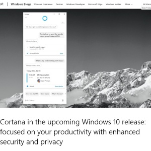 Cortana in the upcoming Windows 10 release: focused on your productivity with enhanced security and privacy | Windows Experience Blog