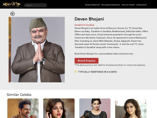 Bollywish|Leading online platform that offers to book personalized video celebs for Brand Promotion