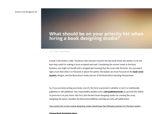 What should be on your priority list when hiring a book designing studio?