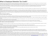 What is Employee Retention Tax Credit?