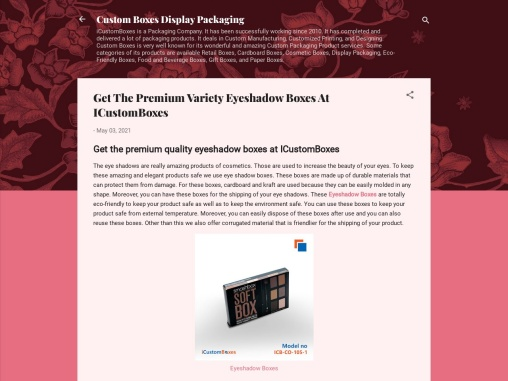Get The Premium Variety Eyeshadow Boxes At ICustomBoxes
