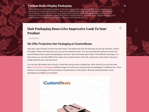 Hair Packaging Boxes Give Impressive Look To Your Product