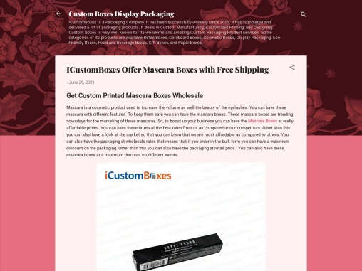 ICustomBoxes Offer Mascara Boxes with Free Shipping