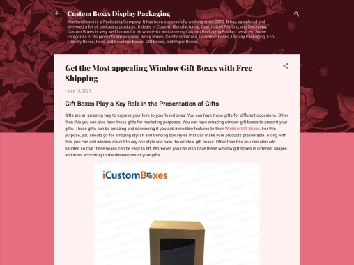 Choose Custom Gift Boxes with Window at ICustomBoxes