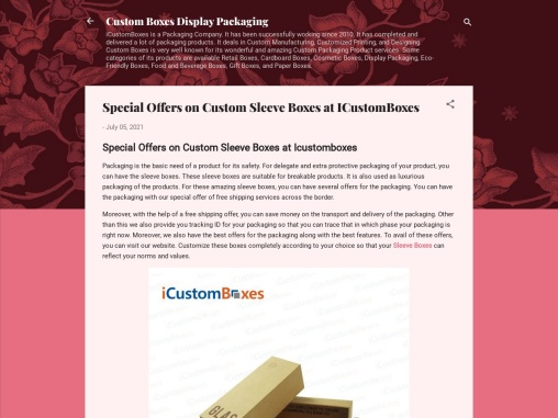 Special Offers on Custom Sleeve Boxes at ICustomBoxes