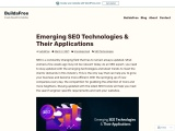 Emerging SEO Technologies & Their Applications