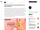 Medium- How to choose top ecommerce platforms for an online business?