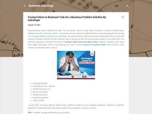 Facing Failure in Business – Business Problem Solution By Astrologer