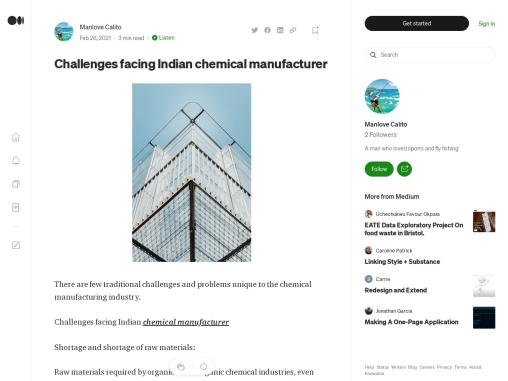 Challenges facing Indian chemical manufacturer