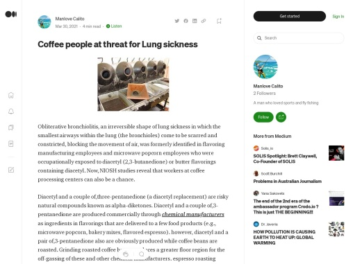 Coffee people at threat for Lung sickness