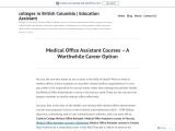 Medical Office Assistant Courses – A Worthwhile Career Option