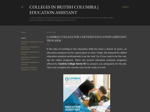 CAMBRIA COLLEGE FOR CERTIFIED EDUCATION ASSISTANT PROGARM