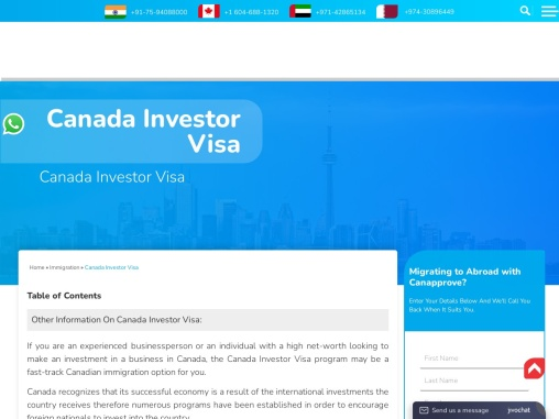 Canada Investors Visa | Canada PR