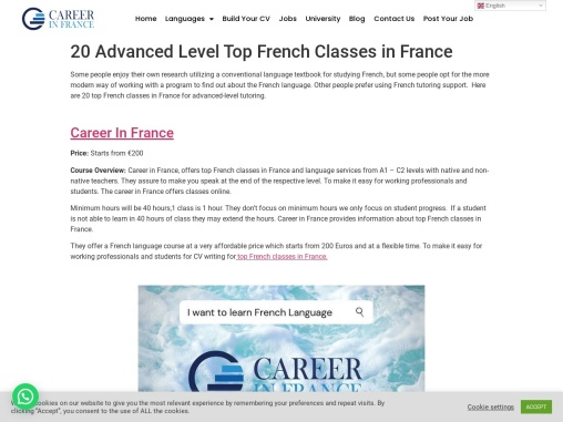 20 Advanced Level Top French classes in France