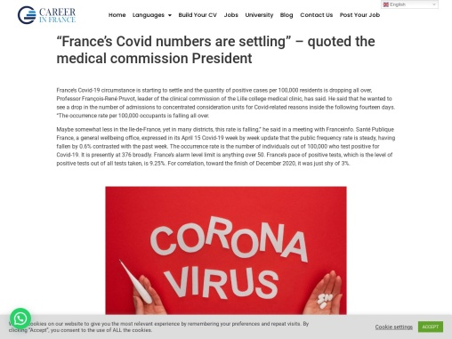 """""""France's Covid numbers are settling"""" – quoted the medical commission President"""
