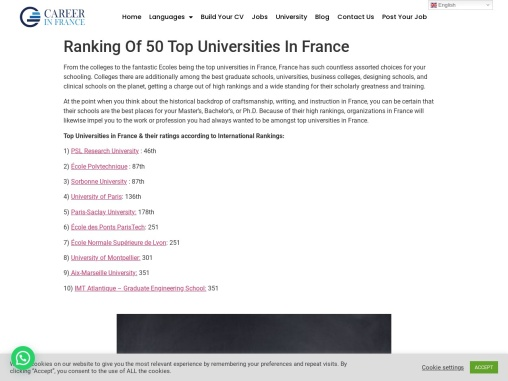 Ranking Of 50 Top Universities In France
