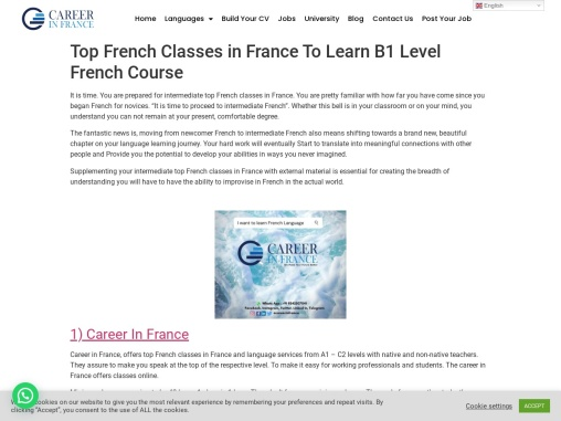 Top French Classes in France To Learn B1 Level French Course