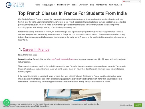Top French Classes In France For Students From India