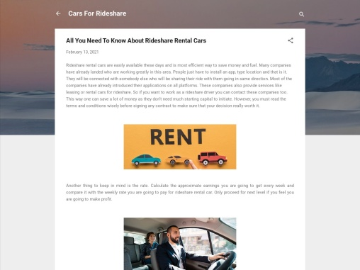 All You Need To Know About Rideshare Rental Cars