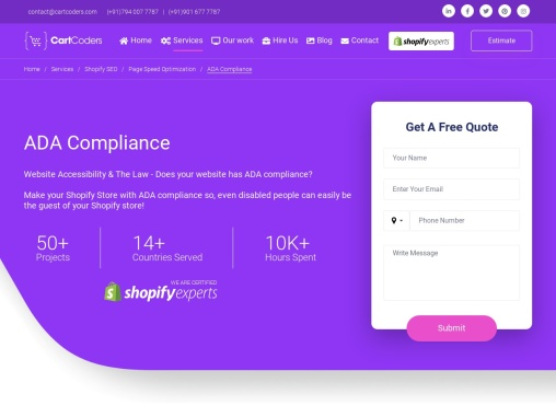 Shopify ADA Compliance Store Development Services
