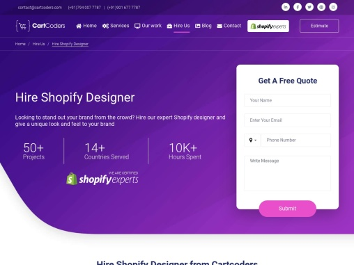 Hire Dedicated Shopify Designer Service Provider