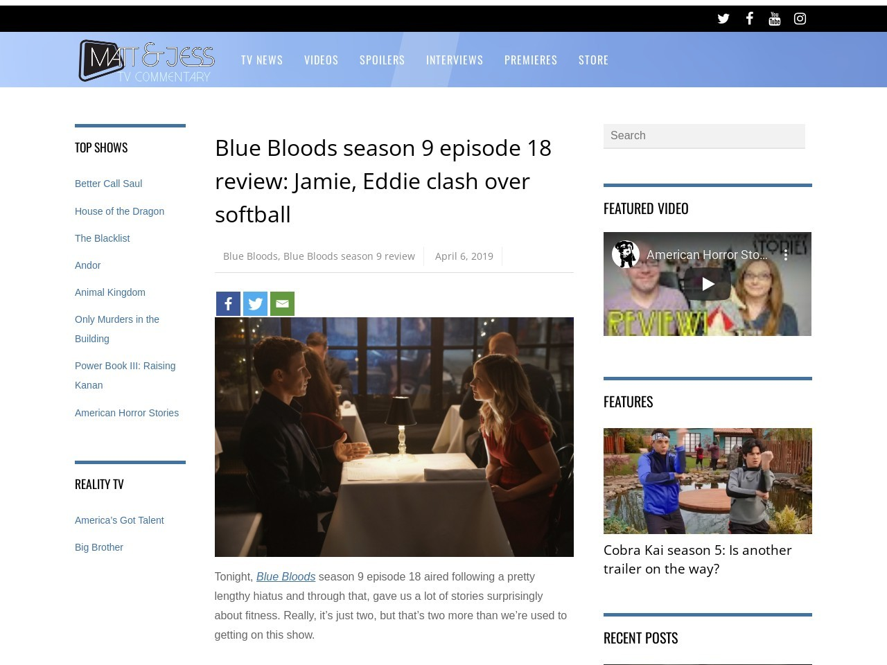 Blue Bloods season 9 episode 18 review: Jamie, Eddie clash over…