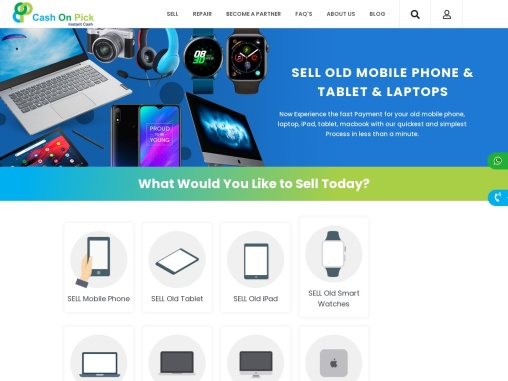 Sell your used mobile phone, laptops, tablets, smartwatches, and electronics online