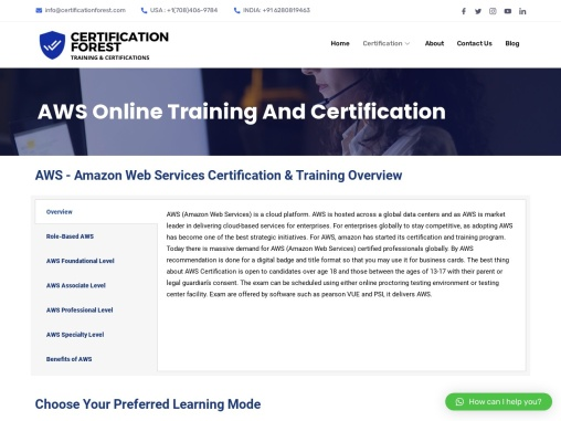 AWS Certification, Online Training Course, Exam Pass   Certification Forest