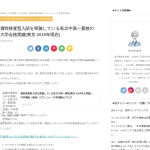 適性検査型入試を実施している私立中高一貫校の大学合格実績(東京 2019年現在)
