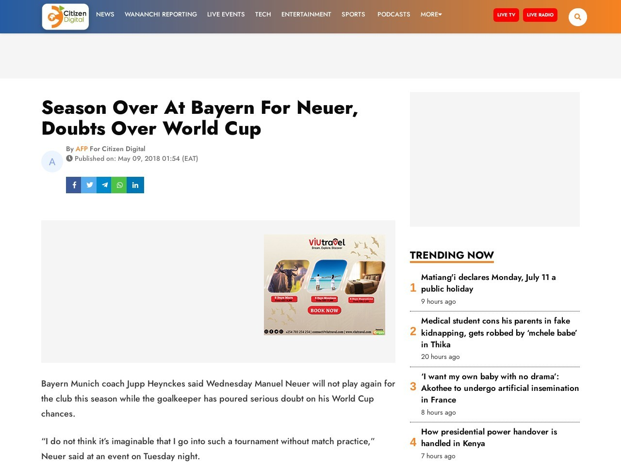 Season over at Bayern for Neuer, doubts over World Cup