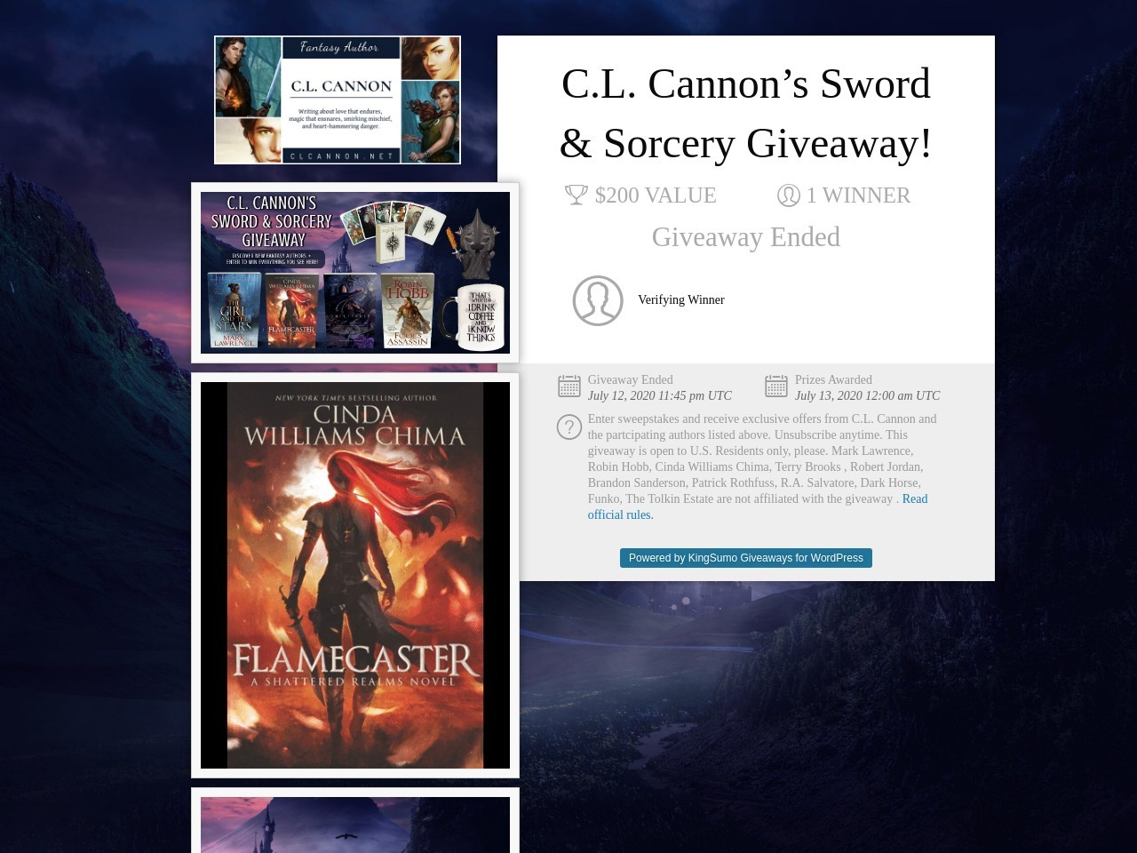 C.L. Cannon's Sword & Sorcery Giveaway!