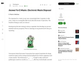 Answer For E-Waste : Electronic Waste Disposal
