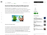 Electronic Waste Recycling And Management